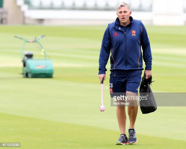 Essex head coach Chris Silverwood walks across the pitch ready to lead training prior to the start of play at Lords Cricket Ground on April 21 2017...