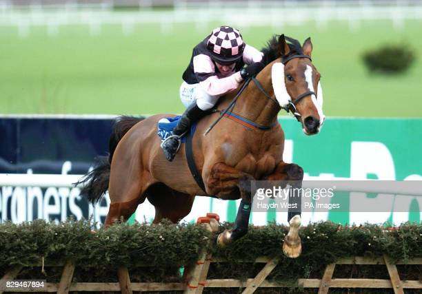 Essex ridden by jockey Barry Geraghty jumps the last fence on the way to winning