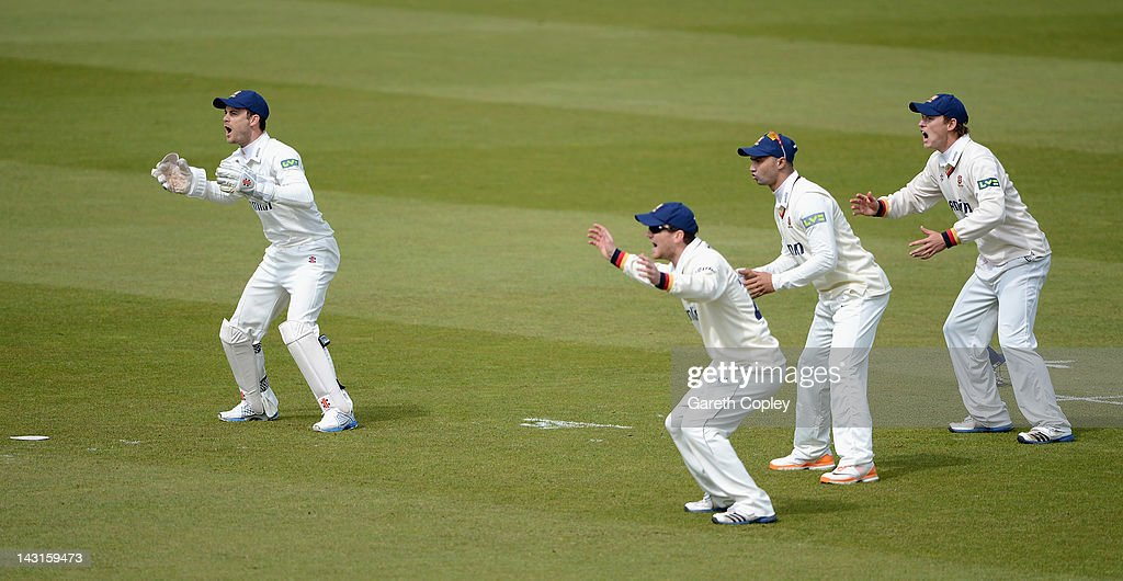 Essex wicketkeeper James Foster reacts with slipfielders Tim Philips, <a gi-track='captionPersonalityLinkClicked' href=/galleries/search?phrase=Alviro+Petersen&family=editorial&specificpeople=4969996 ng-click='$event.stopPropagation()'>Alviro Petersen</a> and Tom Westley during day two of the LV County Championship division two match between Yorkshire and Essex at Headingley on April 20, 2012 in Leeds, England.