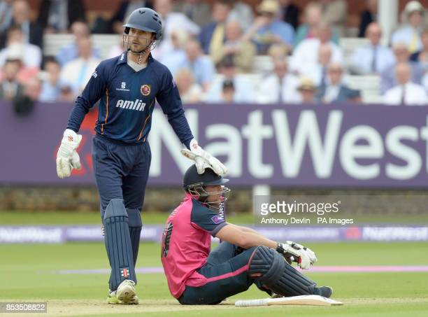 Essex's James Foster acknowledges Middlesex's Dawid Malan after he lost his footing during the Natwest T20 Blast South Division match at Lord's...