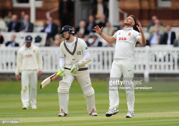 EssexÄôs Jamie Porter frustrated as he beats the edge of MiddlesexÄôs Nick Gubbins during day 1 of the Specsavers County Championship Division One...