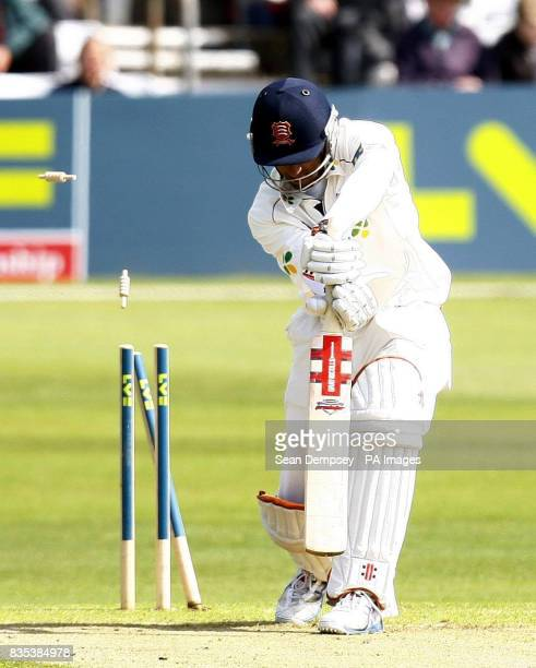 Essex's Varon Chopra is bowled by Kent' Wayne Parnell during the Liverpool Victoria County Championship match at The County Ground Chelmsford