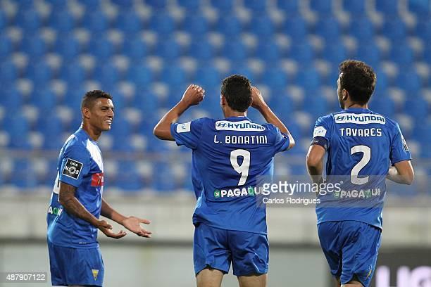est9 celebrating scoring Estoril«s goal during the match between GD Estoril Praia and SC Braga at Antonio Coimbra da Mota Stadium on September 12...