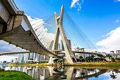 Octavio Frias de Oliveira Bridge, or Ponte Estaiada, in Sao Paulo, Brazil.
