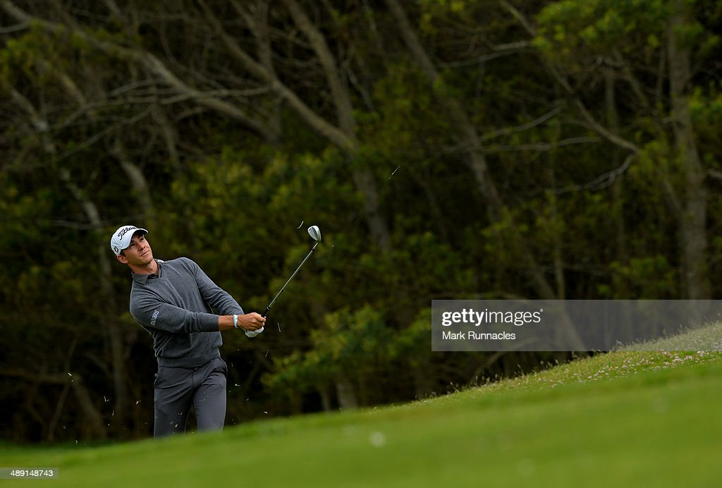 Estanislao Goya of Argentina plays his approach shot to the 16th green during the Madeira Islands Open - Portugal - BPI at Club de Golf do Santo da Serra on May 10, 2014 in Funchal, Madeira, Port gal.
