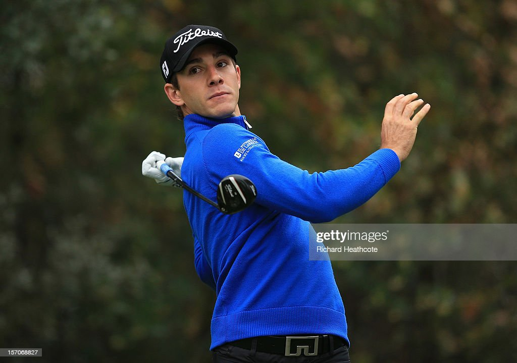 Estanislao Goya of Argentina tee's off at the 15th during the fifth round of the European Tour Qualifying School Finals at PGA Catalunya Resort on November 28, 2012 in Girona, Spain.