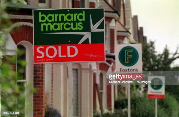 Estate agent signs on a London street 16/02/04 House prices soared by an average 5500 over the first six weeks of the year on the back of record...
