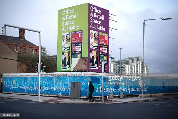 Estate agents boards advertising office space and retail space on a billboard at North Wall Quay in Dublin Ireland on Friday March 15 2013 Ireland's...