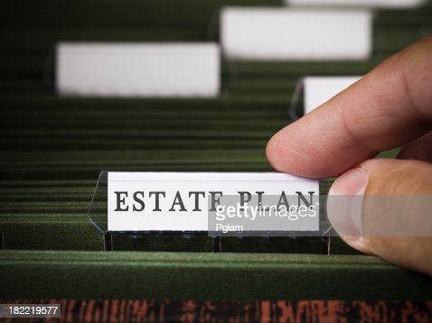 Estate plan file in a filing cabinet