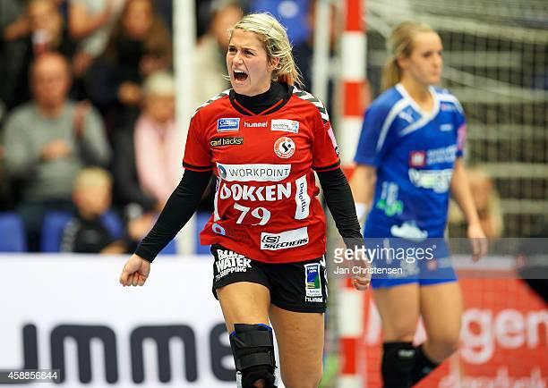 Estavana Polman of Team Esbjerg celebrate after goal during the Danish Handball Liga match between Team Esbjerg and Randers HK in Blue Water Dokken...