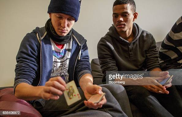 Estavao Samuel Valensio left and Levi Rodrigues players from Brazilian football club Fluminense FC play cards in a teammates apartment in Samorin...