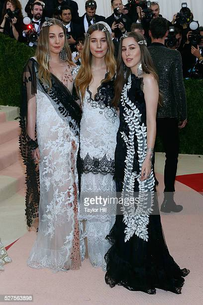 Este Haim Alana Haim and Danielle Haim of HAIM attend 'Manus x Machina Fashion in an Age of Technology' the 2016 Costume Institute Gala at the...
