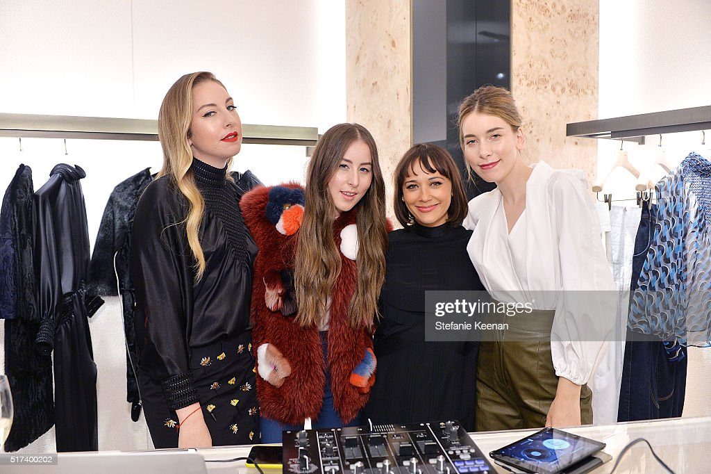 Este Haim Alana Haim Rashida Jones and Danielle Haim attend Fendi And Vogue Celebrate Fendi Beverly Hills at Fendi on March 24 2016 in Beverly Hills...