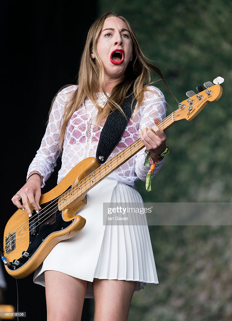 Este Haim of 'Haim' performs on The Other Stage during Day 1 of the Glastonbury Festival at Worthy Farm on June 27 2014 in Glastonbury England
