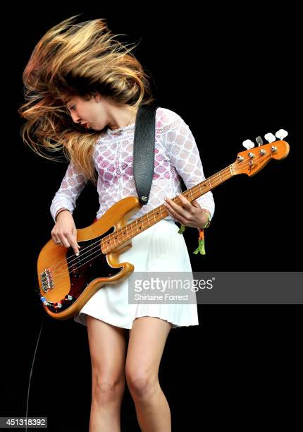 Este Haim of Haim performs on The Other Stage on Day 1 of the Glastonbury Festival at Worthy Farm on June 27 2014 in Glastonbury England