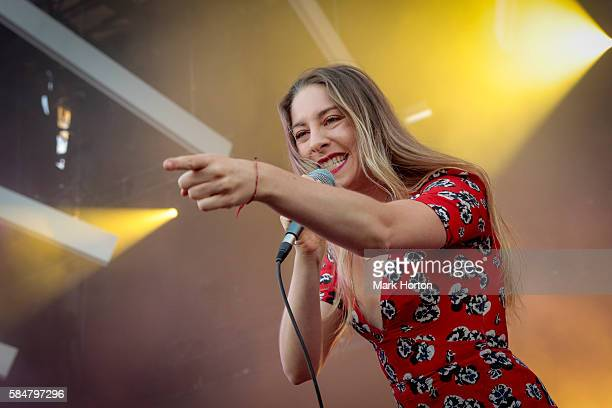 Este Haim performs with HAIM on Day 2 of the Osheaga Music and Art Festival at Parc JeanDrapeau on July 30 2016 in Montreal Canada