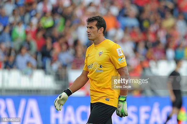 Esteban Andres Suarez of UD Almeria in action during the La Liga match between UD Almeria and FC Barcelona on September 28 2013 in Almeria Spain