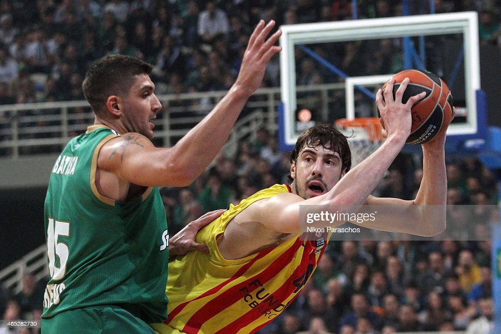 Esteban Batista, #15 of Panathinaikos Athens competes with Ante Tomic, #44 of FC Barcelona during the Turkish Airlines Euroleague Basketball Top 16 Date 9 game between Panathinaikos Athens v FC Barcelona at Olympic Sports Center Athens on March 5, 2015 in Athens, Greece.