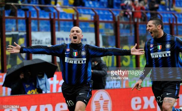 Esteban Cambiasso and Marco Materazzi of FC Internazionale Milano celebrates scoring the third goal during the Serie A match between Inter and Parma...