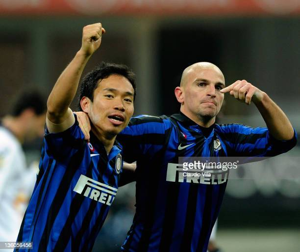 Esteban Cambiasso and Yuto Nagatomo of FC Inter Milan celebrates scoring the third goal during the Serie A match between FC Internazionale Milano and...