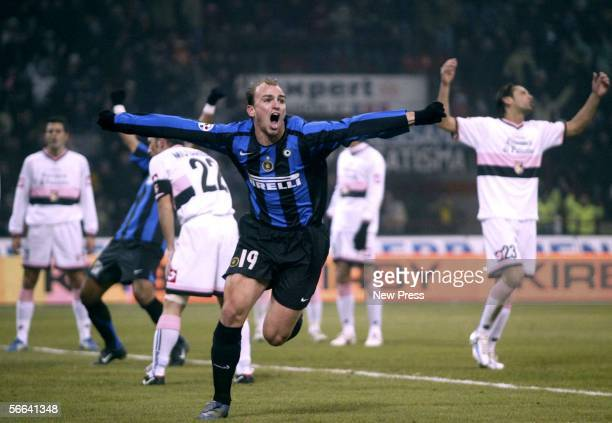 Esteban Cambiasso celebrates his goal during the Serie A match between Inter Milan and Palermo at the Giuseppe Meazza San Siro Stadium on January 21...