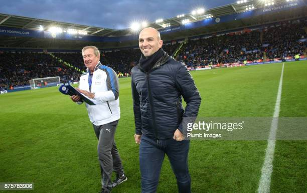 Esteban Cambiasso makes a return to King Power Stadium during the Premier League match between Leicester City and Manchester City at The King Power...