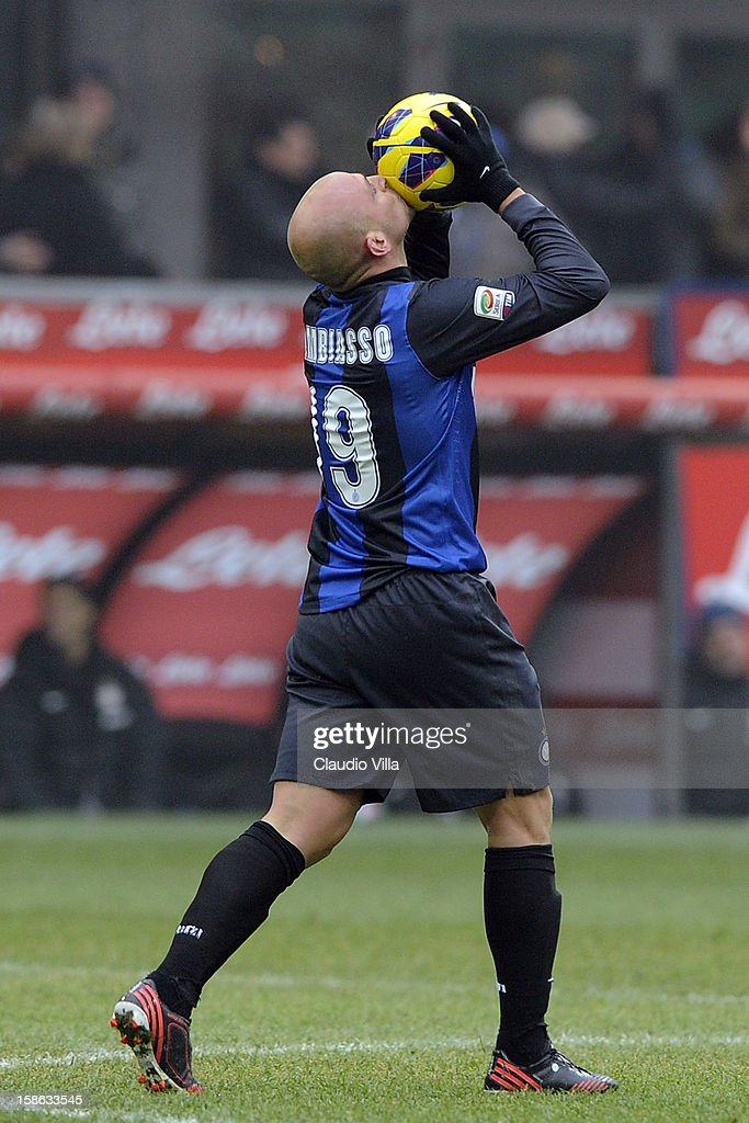 Esteban Cambiasso of FC Inter celebrates scoring their first goal during the Serie A match between FC Internazionale Milano and Genoa CFC at San Siro Stadium on December 22, 2012 in Milan, Italy.