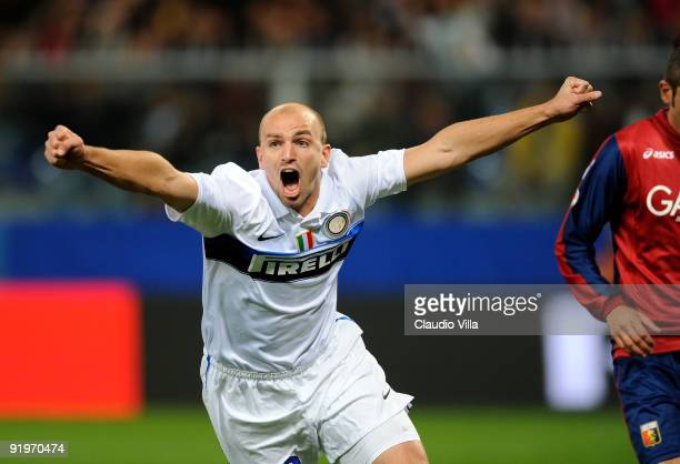 Esteban Cambiasso of FC Internazionale Milano celebrates after the first goal during the Serie A match between Genoa CFC and FC Internazionale Milano...
