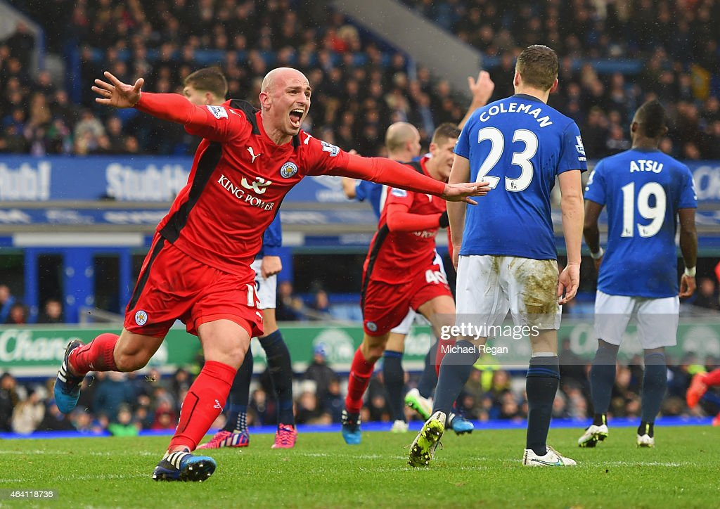 <a gi-track='captionPersonalityLinkClicked' href=/galleries/search?phrase=Esteban+Cambiasso&family=editorial&specificpeople=213561 ng-click='$event.stopPropagation()'>Esteban Cambiasso</a> of Leicester City celebrates as he scores their second goal during the Barclays Premier League match between Everton and Leicester City at Goodison Park on February 22, 2015 in Liverpool, England.