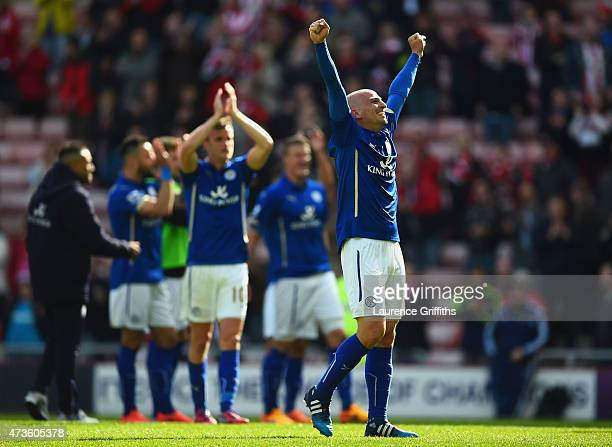 Esteban Cambiasso of Leicester City celebrates avoiding relegation during the Barclays Premier League match between Sunderland and Leicester City at...
