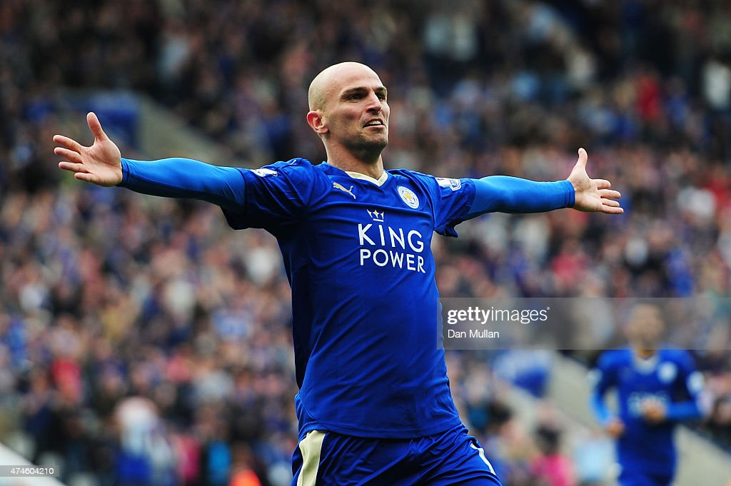 <a gi-track='captionPersonalityLinkClicked' href=/galleries/search?phrase=Esteban+Cambiasso&family=editorial&specificpeople=213561 ng-click='$event.stopPropagation()'>Esteban Cambiasso</a> of Leicester City celebrates scoring his team's fourth goal during the Barclays Premier League match between Leicester City and Queens Park Rangers at The King Power Stadium on May 24, 2015 in Leicester, England.