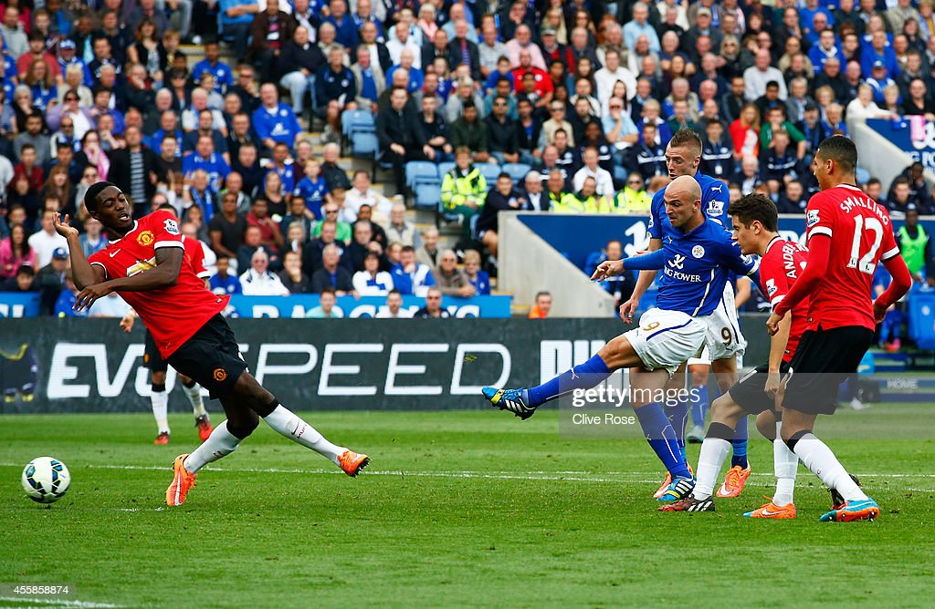Esteban Cambiasso of Leicester City scores his team's third goal during the Barclays Premier League match between Leicester City and Manchester...