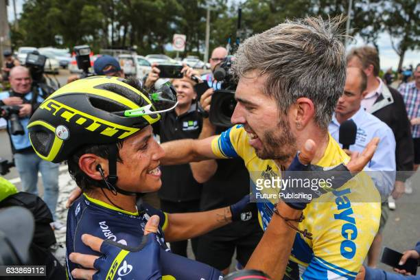 Esteban Chaves congratulates his Team Orica Scott teammate Damien Howson for winning the 2017 Jayco Herald Sun Tour on February 05 2017 in Melbourne...