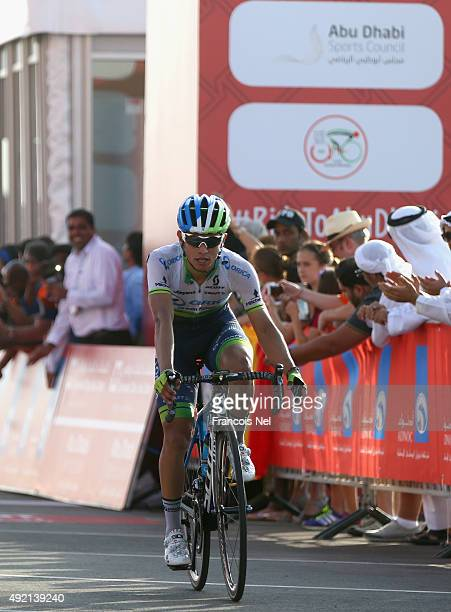 Esteban Chaves of Colombia and Orica Greenedge crosses the finish line to win stage three of the 2015 Abu Dhabi Tour from Al Qattara Souq to Jebel...