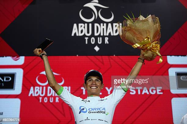 Esteban Chaves of Colombia and Orica Greenedge wearing the young classification white jersey celebrates on the podium after stage four of the 2015...