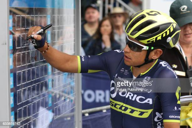 Esteban Chaves of Orica Scott signs on before stage 4 at Kinglake as part of the 2017 Jayco Herald Sun Tour on February 05 2017 in Melbourne...