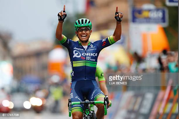 Esteban Chaves of team Orica celebrates as he won the 110th edition of the giro di Lombardia a 241 km cycling race from Como to Bergamo on October 1...