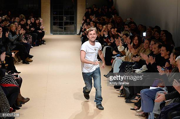 Esteban Cortazar acknowledges the audience during the Esteban Cortazar show as part of Paris Fashion Week Womenswear Fall/Winter 2016/2017 on March 7...