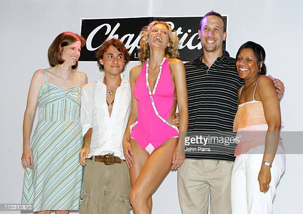 Esteban Cortazar and model wearing swimsuit by Esteban Cortazar for ChapStick