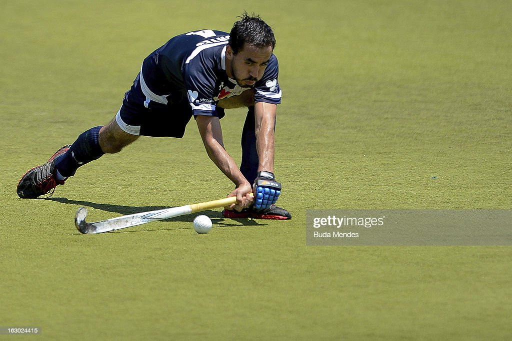 Esteban Cortes of Chile in action during a match between Brazil and Chile as part of the Hockey World League - Round 2 at Complexo Esportivo de Deodoro on March 03, 2013 in Rio de Janeiro, Brazil.