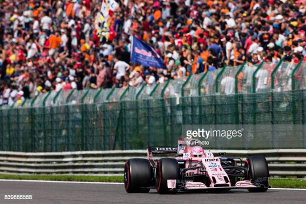 Esteban from France Force India during the Formula One Belgian Grand Prix at Circuit de SpaFrancorchamps on August 27 2017 in Spa Belgium