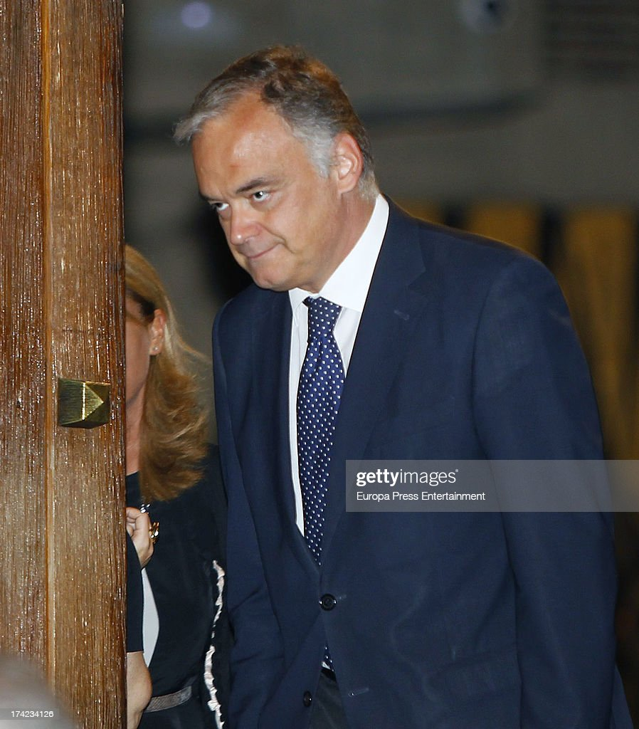 Esteban Gonzalez Pons attends the funeral for the father of Spanish vicepresident of Goverment Soraya Saenz de Santamaria Santa Maria del Monte...