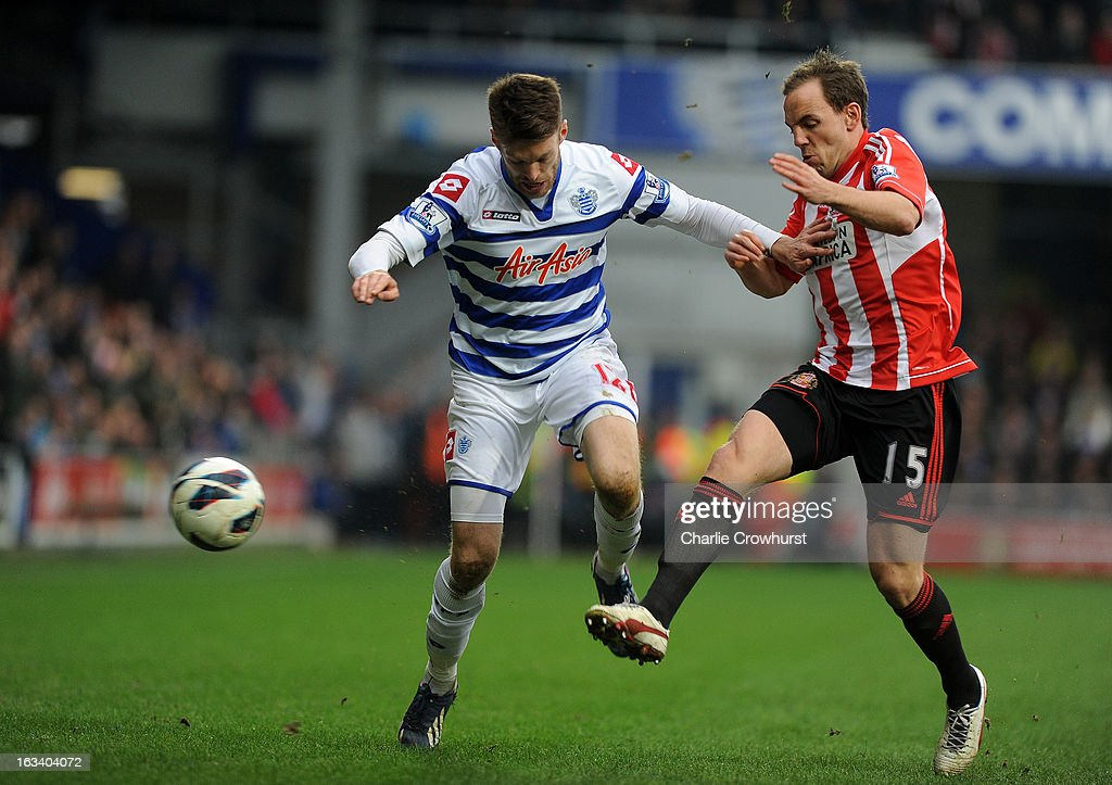 Esteban Granero of Queens Park Rangers and David Vaughan of Sunderland battle for the ball during the Barclays Premier League match between Queens Park Rangers and Sunderland at Loftus Road on March 9, 2013 in London, England.