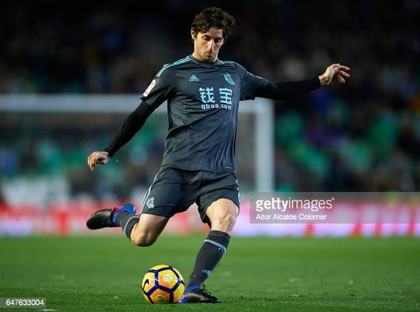 Esteban Granero of Real Sociedad in action during La Liga match between Real Betis Balompie and Real Sociedad de Futbol at Benito Villamarin Stadium...