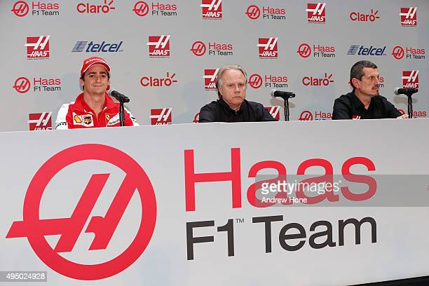 Esteban Gutierrez Haas F1 Team Gene Haas founder and chairman Haas F1 Team and Guenther Steiner team principal Haas F1 Team during the Haas F1 Team...