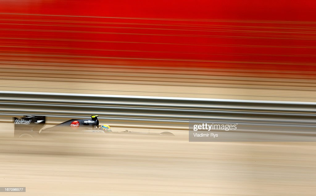 Esteban Gutierrez of Mexico and Sauber drives during final practice session prior qualifying for the Bahrain Formula One Grand Prix at the Bahrain International Circuit on April 20, 2013 in Sakhir, Bahrain.