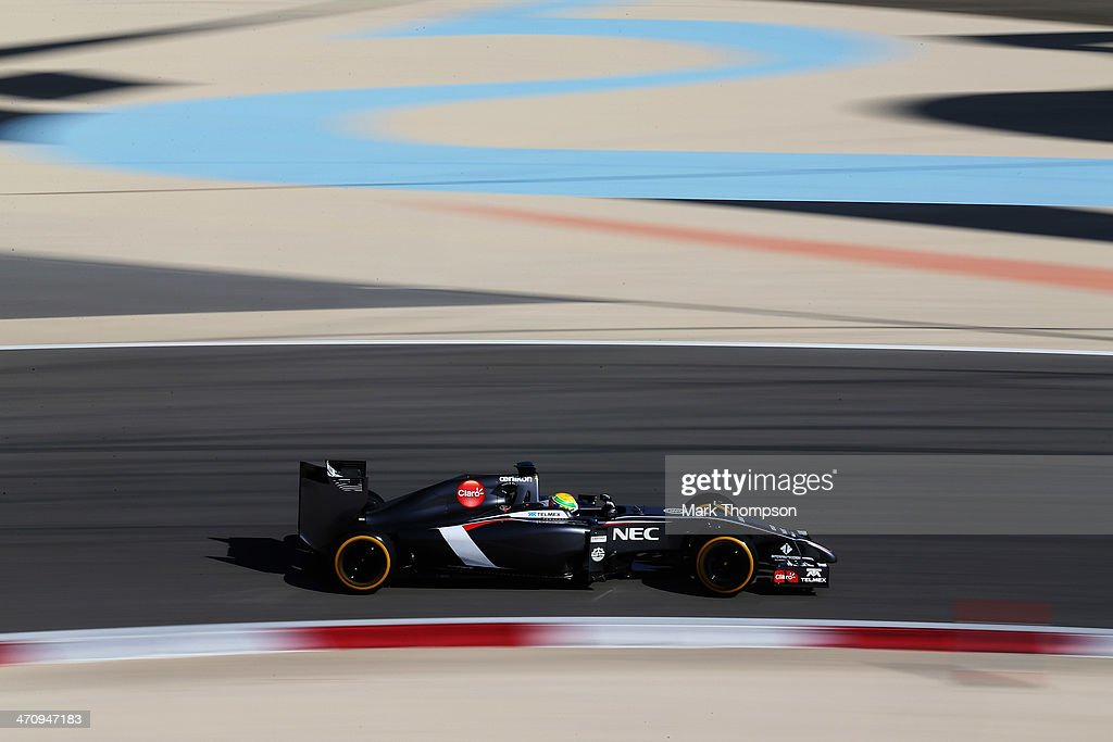 Esteban Gutierrez of Mexico and Sauber F1 drives during day three of Formula One Winter Testing at the Bahrain International Circuit on February 21, 2014 in Bahrain, Bahrain.