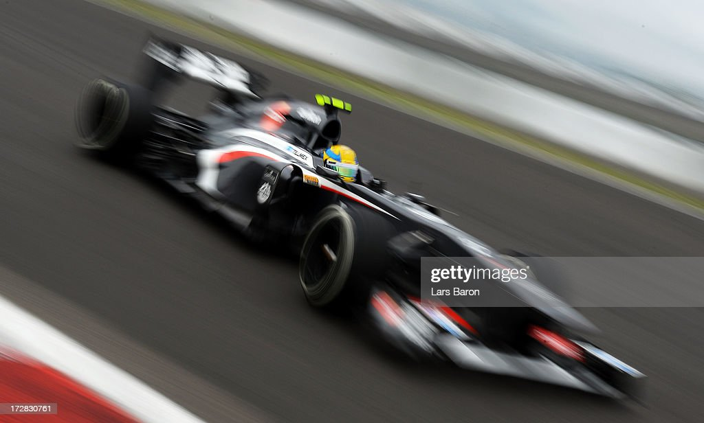 Esteban Gutierrez of Mexico and Sauber F1 drives during practice for the German Grand Prix at the Nuerburgring on July 5, 2013 in Nuerburg, Germany.