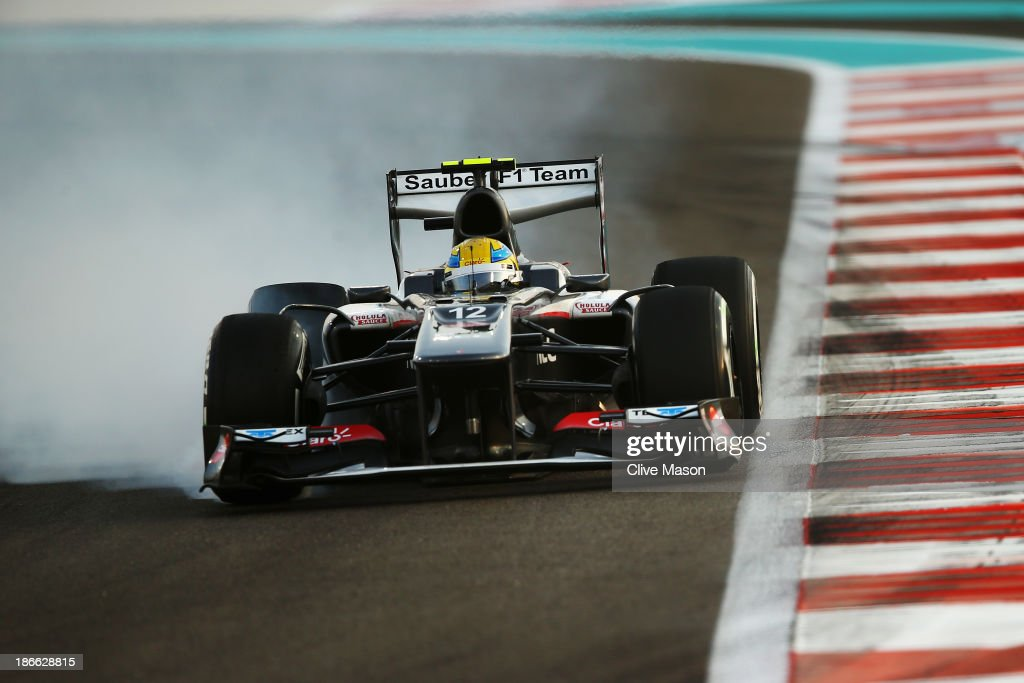 Esteban Gutierrez of Mexico and Sauber F1 locks his brakes while driving during qualifying for the Abu Dhabi Formula One Grand Prix at the Yas Marina Circuit on November 2, 2013 in Abu Dhabi, United Arab Emirates.