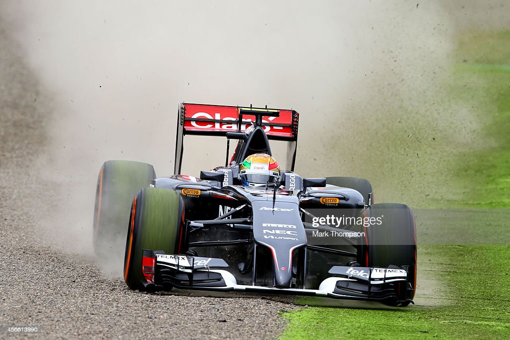 Esteban Gutierrez of Mexico and Sauber F1 runs wide during final practice for the Japanese Formula One Grand Prix at Suzuka Circuit on October 4, 2014 in Suzuka, Japan.